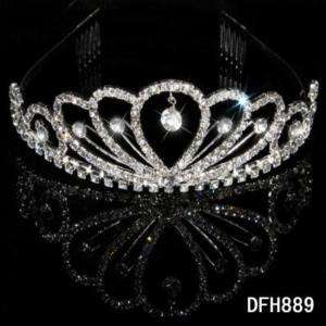 Wedding Bridal crystal veil tiara crown Headband HG0889