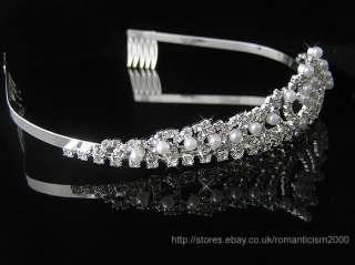 Wedding/Bridal crystal veil tiara crown headband CR1069