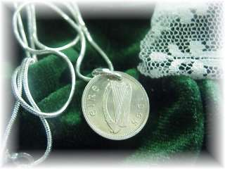 Phyls Irish rabbit harp pendant~coin~sterling chain