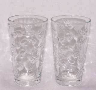 Libbey Glass Clear 16oz Leaves Leaf Drinking Tumblers