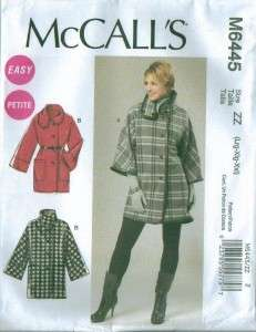 New McCalls Misses Plus Size Coats Jackets or Capes Sewing Pattern