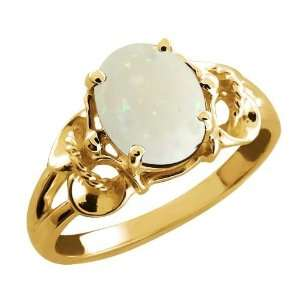 30 Ct Opal White Oval Mystic Quartz and 14k Yellow Gold Ring Jewelry