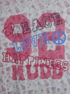Mudd T Shirt Peace Love Happiness long sleeve L XL~UPic