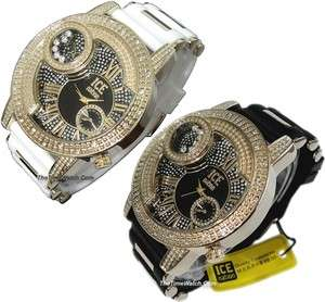 Set of Two Rhinestones Hip Hop Ice Nation Men Watches IN31GBW