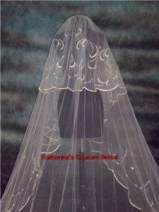 Wedding Veil Cathedral Ivory/Silver Detachable Blusher