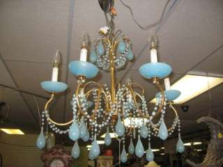 ITALIAN ART GLASS BLUE OPALESCENT TEAR DROP CHANDELIER FIXTURE