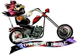 New BORN TO RIDE METAL WALL ART Chopper Decor Motorcycle Rider