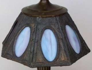 Antique Arts & Crafts 8 Panel Blue/Violet Slag Glass Lead Lamp Shade