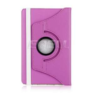 Ecell   PURPLE ROTATING LEATHER FOLIO CASE & STAND FOR