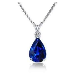 4.25Ct Pear Cut Sapphire & VS Diamond Pendant 14K Gold