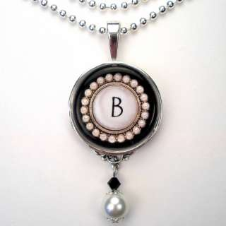 INITIAL LETTER B MONOGRAM PEARL CHARM PENDANT NECKLACE