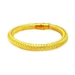 Bracelets Gold Plated Weaving Style Magnet Lock Bracelet 7.5 Inches