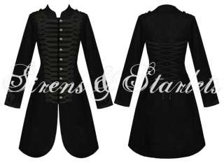 LADIES NEW BLACK GOTHIC STEAMPUNK MILITARY COTTON COAT JACKET