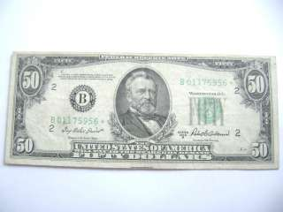 1950 SERIES B *STAR NOTE* 50 DOLLAR BILL FED. RESERVE NOTE N.Y. EF