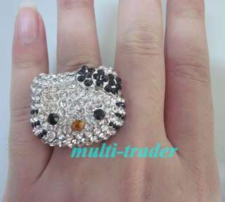 10pcs XL hello kitty black bow crystal adjustable ring