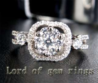 DIAMOND Solitaire/Side Solid 14K WHITE GOLD ENGAGEMENT WEDDING RING