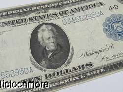 US 1913 $10 TEN DOLLAR BILL FEDERAL RESERVE NOTE 4 D LARGE NOTE
