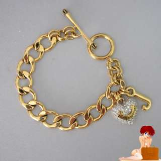 Boxed Juicy Couture Pave Heart Open Link Starter Bracelet Gold