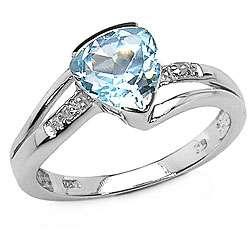 Sterling Silver Blue Topaz Diamond Ring