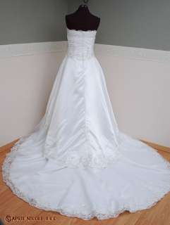 White Satin, Organza Beaded Strapless Wedding Gown NWOT