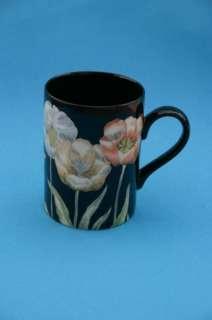 Fitz Floyd Midnight Poppy Coffee Mug Cup Black Japan
