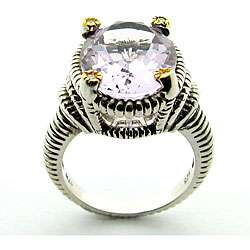 Leigh Sterling Silver Pink Amethyst and Diamond Ring
