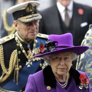 Queen Elizabeth II and Prince Philip Arrive for Remembrance Day