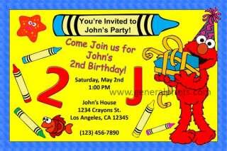 Elmo Invitations Birthday Party Personalized Custom Made Printable