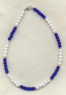 Royal Blue White Silver Bracelet/Ankle Bracelet (2812)
