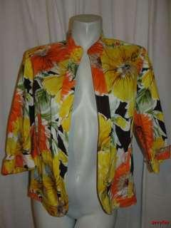 Bright Yellow Orange Green Brown 3/4 Sleeve Jacket Size 16