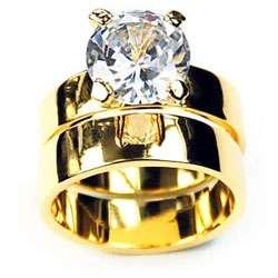14k Yellow Gold Overlay CZ Wedding Ring Set