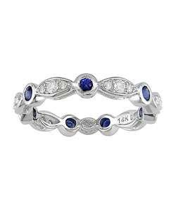 14k Gold Blue Sapphire & Diamond Eternity Band