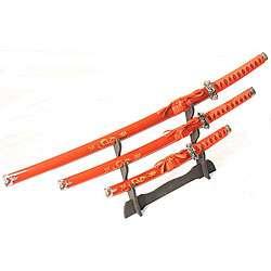 Dragon Symbol 3 piece Red Katana Sword Set