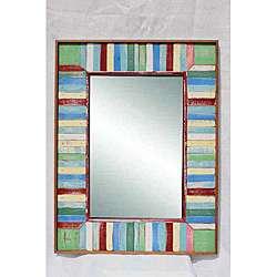Wood Dark Accent Multicolor Frame Mirror (Thailand)