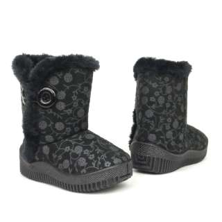 Baby Infant Toddler Faux Suede Black Flower Print Boots / button