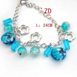 A0221 Blue Lampwork Glass Crystal Beads Flower Bracelet