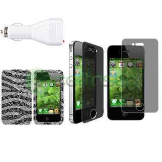Black Diamond Case+Privacy Film+Car DC Charger For iPhone 4S 4 4G Gen