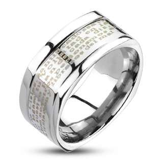 Stainless Steel Mens Spanish Lords Prayer Squared Band Ring Size 9