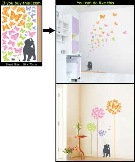 BUTTERFLY&CAT ADHESIVE DECO WALL MURAL STICKER PS 58090