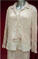 CAROLE LITTLE~Cream Shimmer Silky Dress & Jacket Set size 14 xl