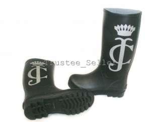 NEW Juicy Couture Womens Black Slick II JC Crown Logo Rubber Rainboots