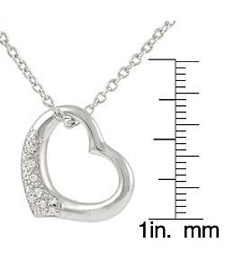 Sterling Silver CZ Chunky Heart Necklace