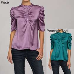 Violet & Claire Womens Ruched Blouse