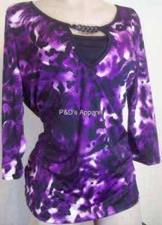 New Judith Womens Plus Size Clothing Purple Black Shirt Top Blouse 1X