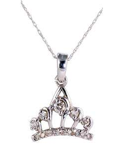 10k White Gold Diamond Tiara Pendant