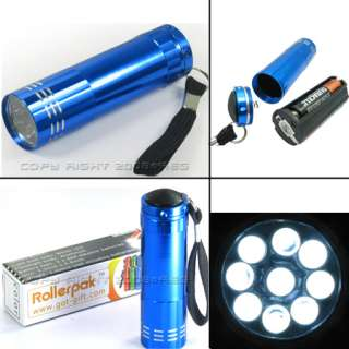 PCS MINI 9 LED FLASHLIGHT TORCH BLACK BLUE RED GREEN SILVER LAMP LIGHT