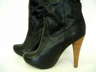 NYLA Womens Retusa Leather Knee High Boots Size 8 1/2 Black
