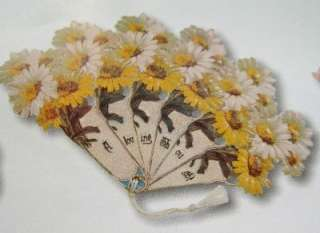 Large Diecut Victorian Fan With Daisies Greeting Card W/Envelope NEW