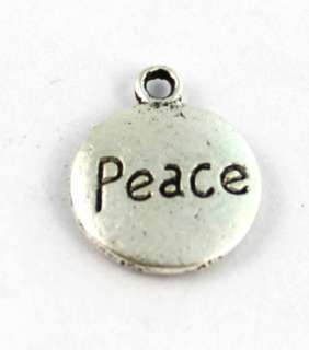 20PCS Tibetan silver round PEACE charms FC12131