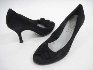 CYNTHIA ROWLEY Bow Tie Black Suede Peep Toe Pumps 8.5